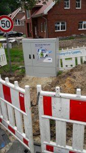 Die Bauarbeiten für den Glasfaseranschluss (VDSL) scheinen bald erledigt zu sein.